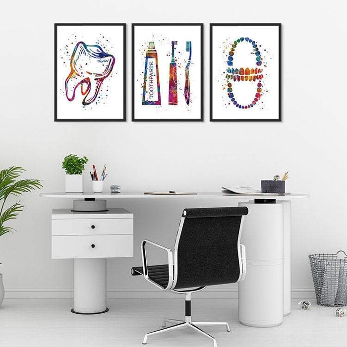 Dental Hygienist Gift Set of 3 Watercolor Prints