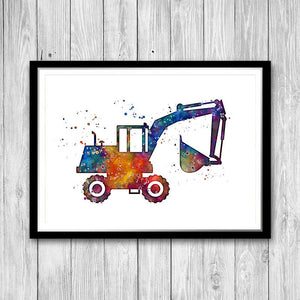 Digger Excavator Watercolor Print - PrintsFinds