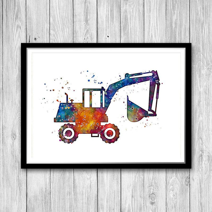 Digger Excavator Watercolor Print
