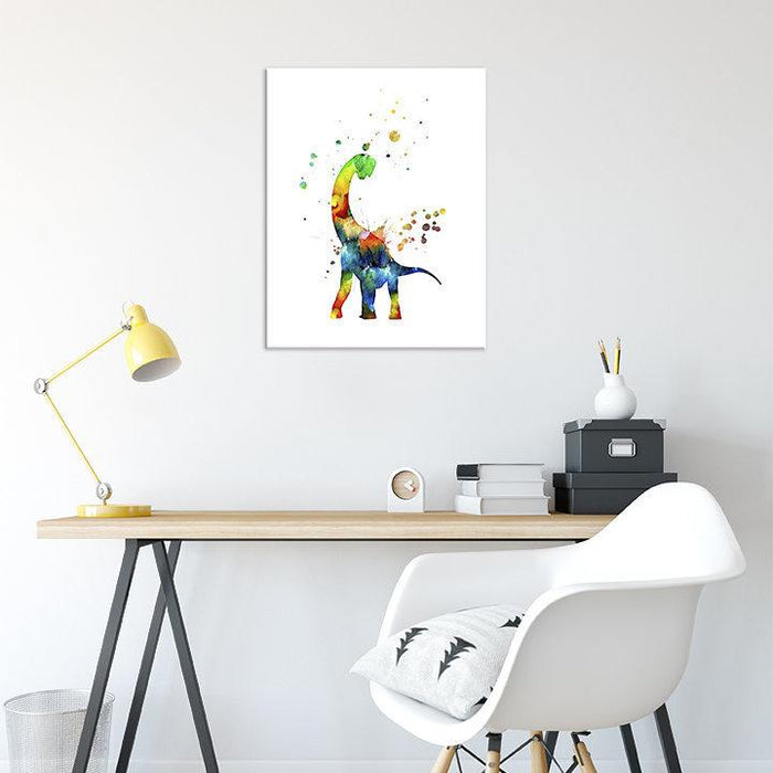 Dinosaur Art Print Watercolor Wall Decor for Kids Room