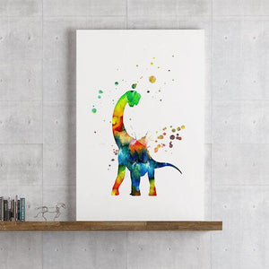 Dinosaur Art Print Watercolor Wall Decor for Kids Room - PrintsFinds