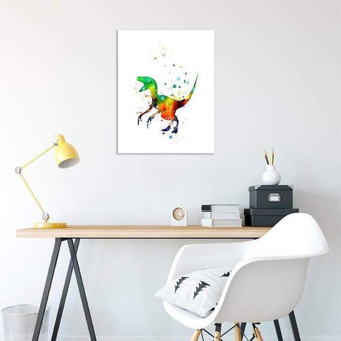 Dinosaur Decor for Kids Room Watercolor Print