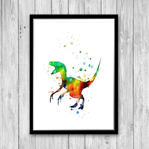 Dinosaur Decor for Kids Room Watercolor Print - PrintsFinds