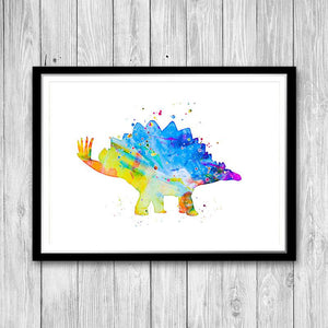 Dinosaur Nursery Wall Art Set of 4 Watercolor Prints for Kids Room Decor - PrintsFinds