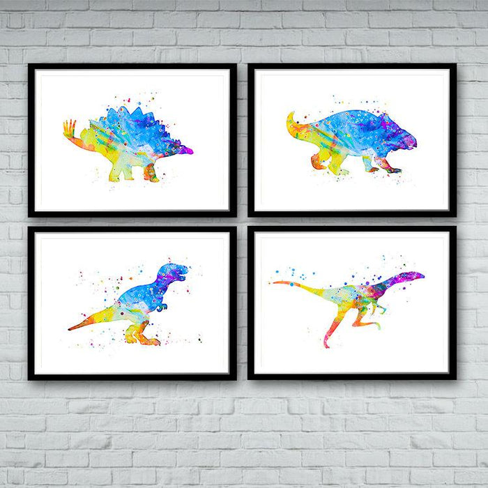 Dinosaur Nursery Wall Art Set of 4 Watercolor Prints for Kids Room Decor