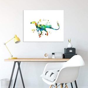 Dinosaur Print Nursery Wall Art Watercolor Painting Poster - PrintsFinds