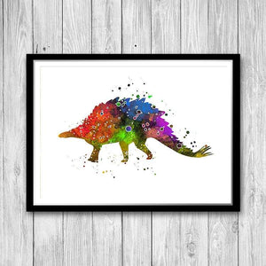 Dinosaur Stegosaurus Watercolor Art Print - PrintsFinds