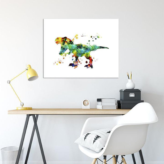 Dinosaur T-rex Watercolor Print