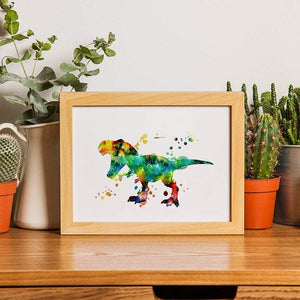 Dinosaur T-rex Watercolor Print - PrintsFinds