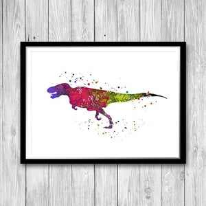 Dinosaur Wall Art, Colourful Prehistoric Animal Art - PrintsFinds