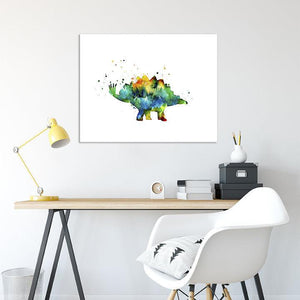 Dinosaur Wall Art for Kids Room Watercolor Print - PrintsFinds