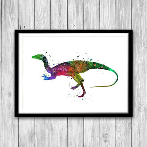 Dinosaur Watercolor Painting Poster - PrintsFinds