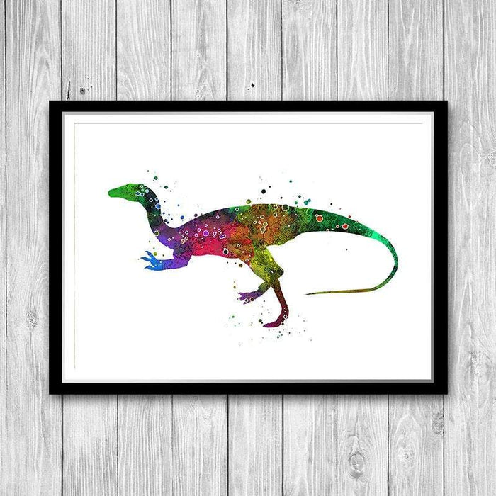 Dinosaur Watercolor Painting Poster