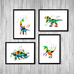 Dinosaurs Set of 4 Watercolor Prints - PrintsFinds