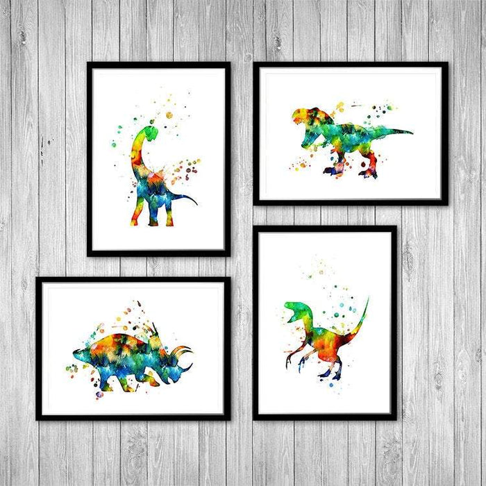 Dinosaurs Set of 4 Watercolor Prints