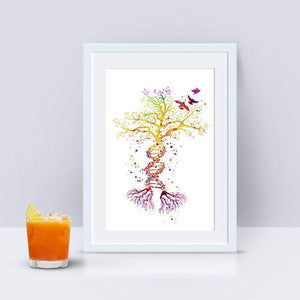 DNA Tree Watercolor Art Print Science Art - PrintsFinds