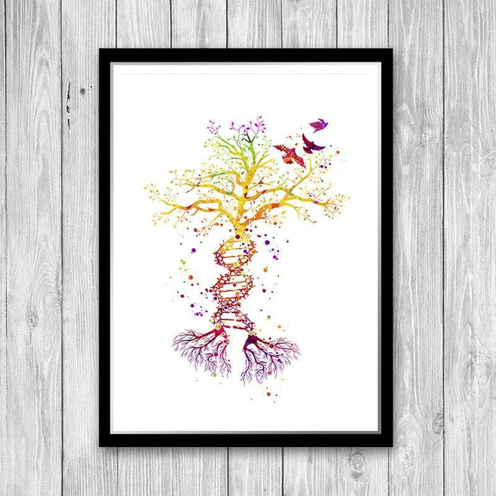 DNA Tree Watercolor Art Print Science Art