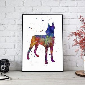Doberman art watercolor print Dog Lover Gift - PrintsFinds