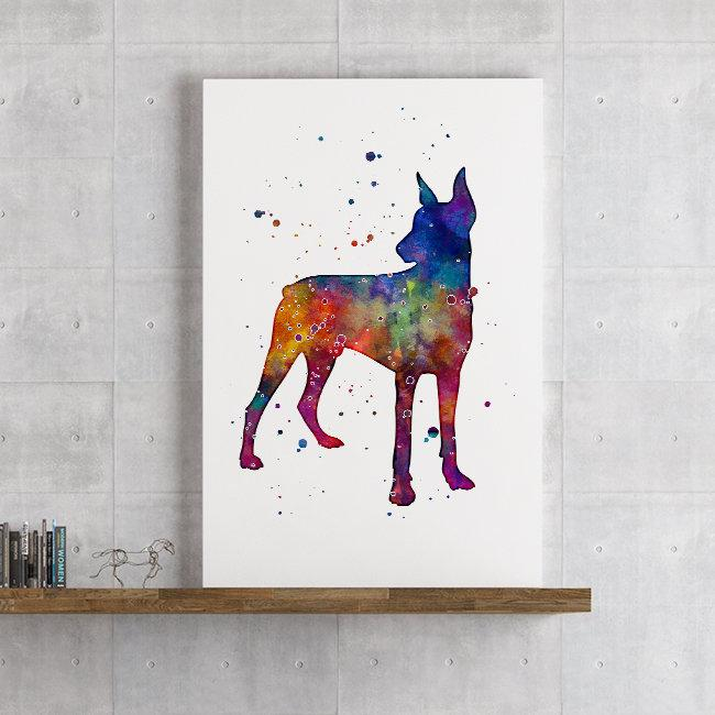 Doberman art watercolor print Dog Lover Gift