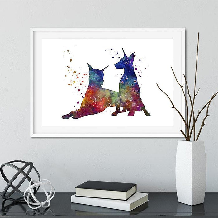Doberman Dogs Watercolor Print Home Decor, Kids Room Wall Art