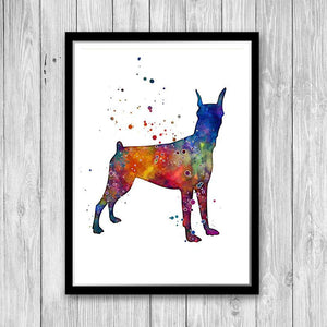 Doberman Wall Art Watercolor Print - PrintsFinds