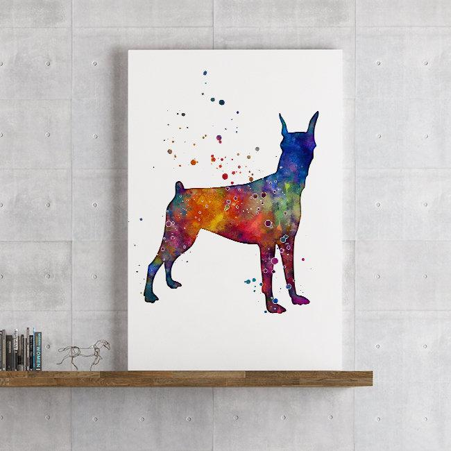 Doberman Wall Art Watercolor Print