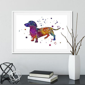 Dog Art Dachshund Watercolor Print Home Decor, Kids Room Wall Art - PrintsFinds