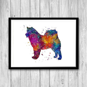 Dog poster Alaskan Malamute Watercolor Print - PrintsFinds