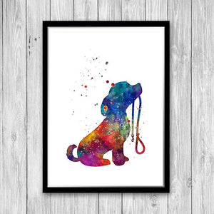 Dog Puppy Art Watercolor Print Kids Room Wall Art for Home Decor - PrintsFinds