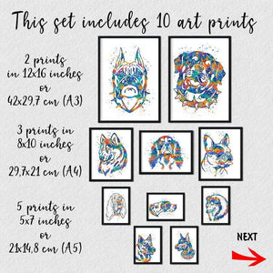 Dogs Art, set of 10 watercolor prints - PrintsFinds