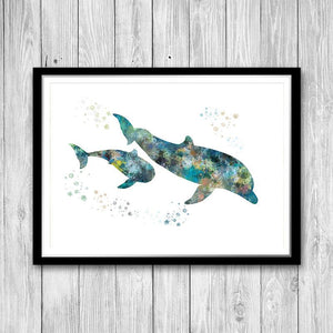 Dolphin, Nautical Nursery Print - PrintsFinds