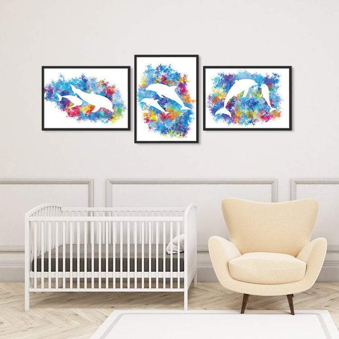 Dolphins Art Set of 3 Prints for Nursery Decor