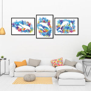 Dolphins Art Set of 3 Prints for Nursery Decor - PrintsFinds