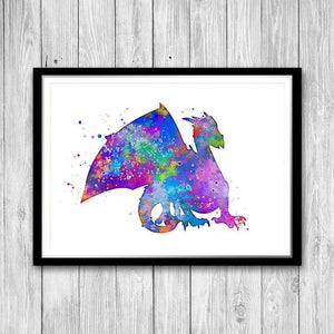 Dragon Watercolor Art Print for kids room - PrintsFinds