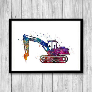 Drill Machine Excavator Watercolor Print - PrintsFinds