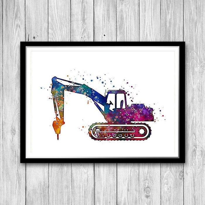 Drill Machine Excavator Watercolor Print