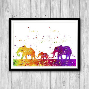 Elephant Family watercolor art print for nursery decor - PrintsFinds