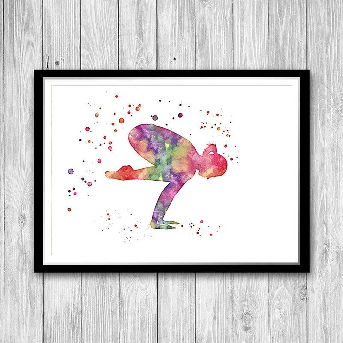 Exercise Gym Yoga Print, Watercolor Yoga Pose Art Print