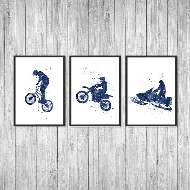 Extreme Sports  Art for Boys room decor Set of 3 Blue Watercolor Prints