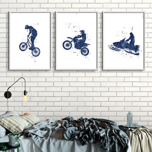 Extreme Sports Art for Boys room decor Set of 3 Blue Watercolor Prints - PrintsFinds