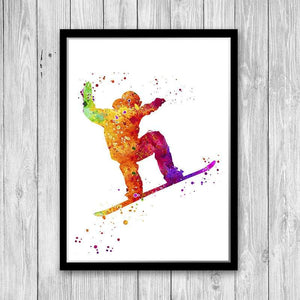 Extreme Winter Sport Snowboarding Watercolor Art Print - PrintsFinds