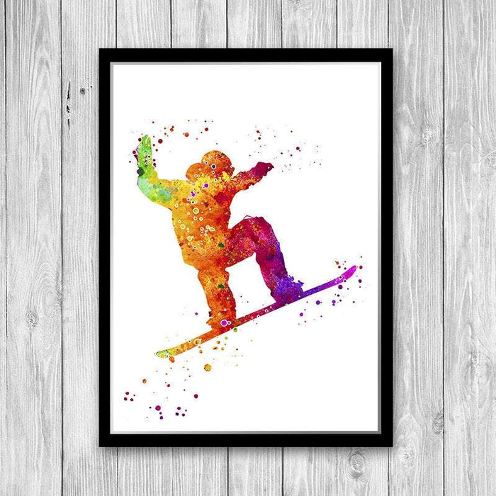 Extreme Winter Sport Snowboarding Watercolor Art Print