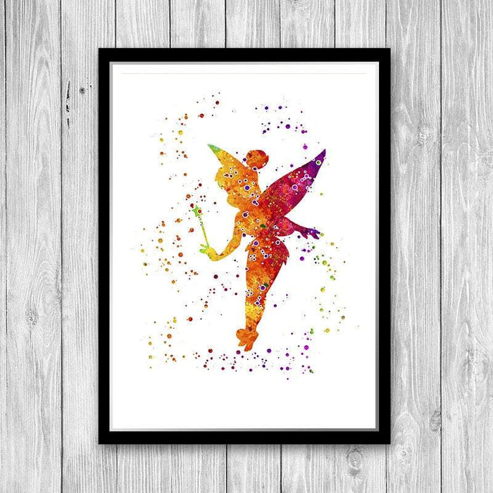 Fairy print watercolor wall art for girls room decor