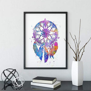 Feather Dreamcatcher Nursery Wall Art Watercolor Print - PrintsFinds