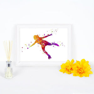 Figure Skater Watercolor Art Print - PrintsFinds