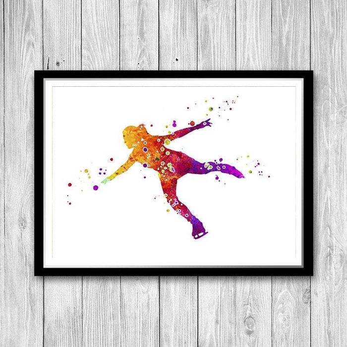 Figure Skater Watercolor Art Print