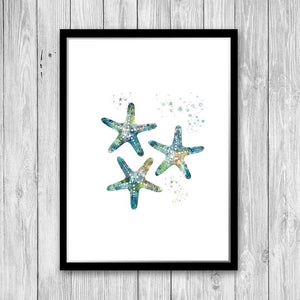 Finger Starfish Wall Art Watercolor print - PrintsFinds