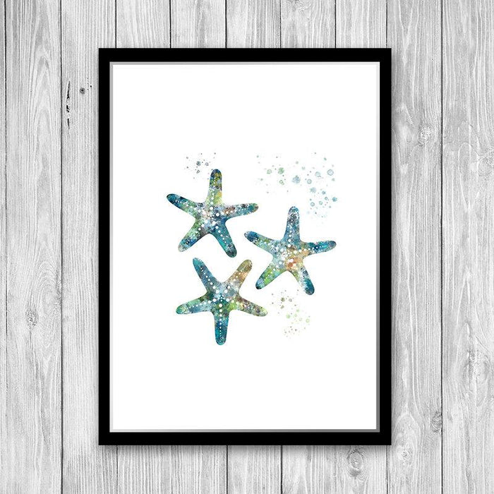 Finger Starfish Wall Art Watercolor print