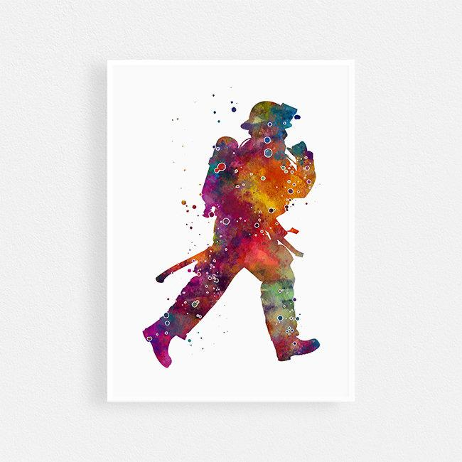 Firefighter print Fireman watercolor poster