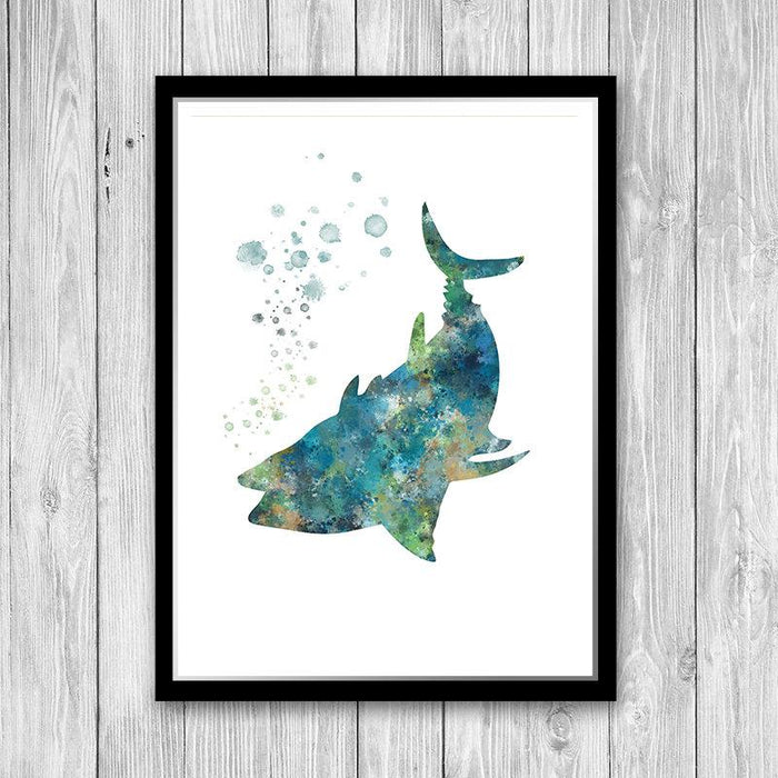 Fish Painting Watercolor Print Beach House Decor
